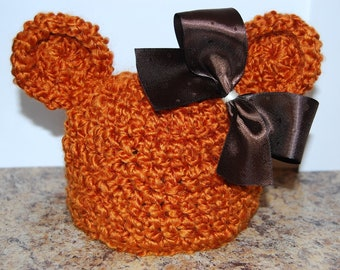 Newborn Fall Fuzz Bear Hat... Removable Bow... Ready to Ship