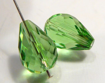 2 Beads...  Green Glass faceted Teardrop Briolette Beads....14x10mm..BB