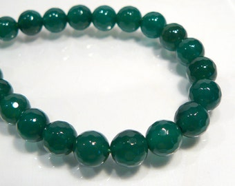 CLOSE OUT SALE:  40 Green Agate Faceted Round Gemstone Beads...8mm