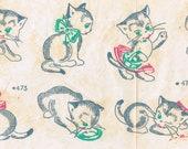1950s Vogart TextilPrints 473 UNCUT Color Transfer Pattern Playful Kittens Cats