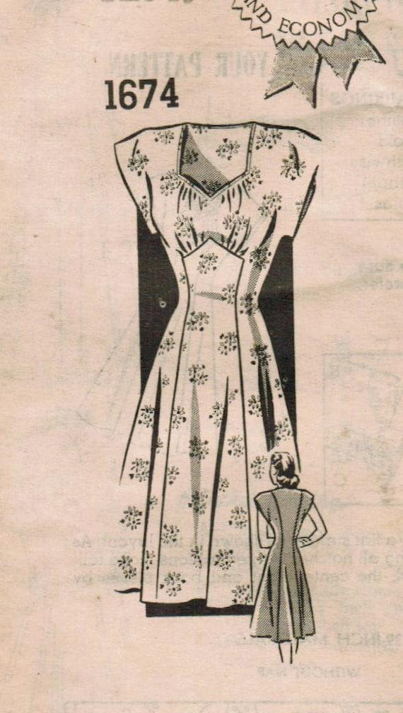 1940s Mail Order 1674 Vintage Sewing Pattern Junior Misses Princess Dress Size 18 Bust 36