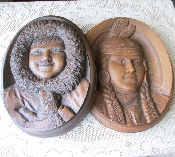 Karl Rothammer Sculptor Pair Reproduction Plaques Eskimo Child Dog and Indian Girl