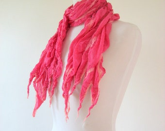 SALE Nuno Felted  Silk Scarf Pink