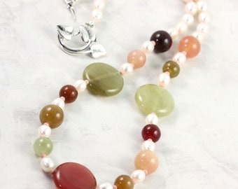 Soochow Jade Freshwater Pearl Necklace Chartreuse Coral Pink Necklace Gemstone Jewelry Multicolor Necklace White Pearl Necklace Green Jade