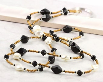 Black ID Badge Lanyard Cream Pearl Lanyard Gold Beaded Badge Holder Art Deco Style ID Necklace