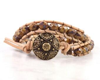 Mocha Brown Wrap Bracelet Tan Suede Leather Hippie Rustic Bohemian Bracelet Double Wrap Boho Jewelry Fall Wrap Boho Wrap Bracelet