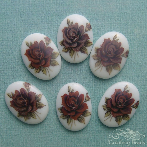 Vintage Glass Cabochons - 18x25 Decal Cabs - Mauve Purple Roses On White (choose 2 pc or 4 pc)