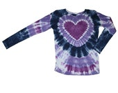 Tie Dye Shirt in Navy Blue, Purple and Lavender with a Purple Heart- Girls and Adults Sizes Available