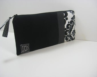 Black and White Damask Personalized, Embroidered, Initial,  Clutch, Zipper Pouch, Bridesmaid Gift, Made To Order