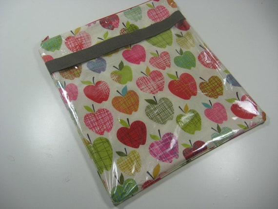 Zip School Bag Laminated Cotton - Document Holder, Document Storage - A is for Apple