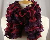Hand Knit Ruffled Scarf - Neck Warmer - Burgundy Red Hues