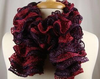 Hand Knit Ruffled Scarf - Neck Warmer - Burgundy Red Hues
