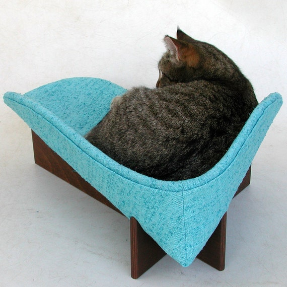 RESERVED for lapdogstudio: Mod Cat Bed in Turquoise Linen with Acrylic