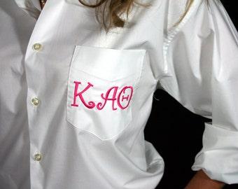 Greek Sorority Button Down Shirt  -Monogrammed Personalized Greek Letter Shirt, Preppy White Greek Oxford Shirt, Sorority Reveal Gift