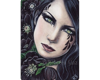 Black Hellebore Limited Edition ACEO Print Gothic Flower Artist Trading Cards ATC Fantasy Art Portrait -- Pretty Poisons Series