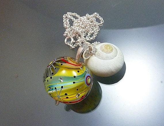 "Melanie Moertel Lampwork Beads - Yellow glass focal bead pendant incl sterling silver chain - ""Sunstream"""