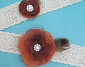 Wedding Garter in Brown and Orange, Lace, bridal garter set I102, budget bridal garter accessory