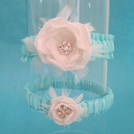 Wedding Garter Set, Ivory and Aqua Blue Feather Rose garters -Garter A027 bridal garters