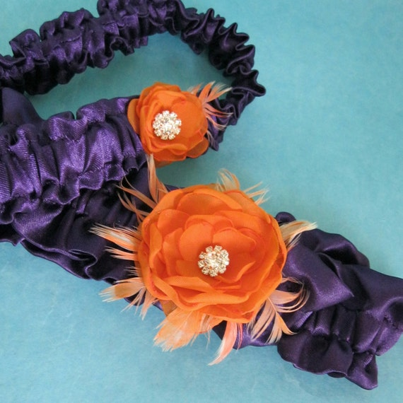 Wedding Garter, Purple, Tangerine, Wedding Garter Set, G213, plum garters, bridal accessories