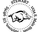 Custom Address Stamp - Style: Razorback Round