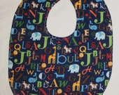 Baby Bib with Animals and Letters