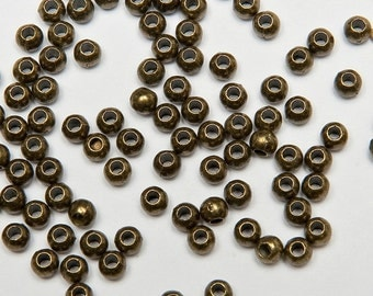 240 - 3mm Round Beads in Antiqued Brass Tone, Lead/Nickel Free Base Metal Beads, M0408-AB