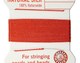 Coral Griffin Natural Silk Cord No. 6 w Needle 2 Cards