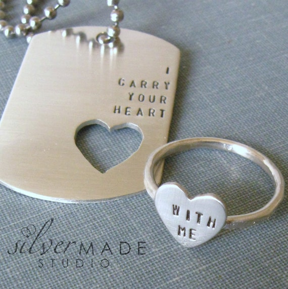 Wedding Gifts For Army Couples : Carry Your Heart dog tag and sterling silver HEART ring (INTERTWINE)