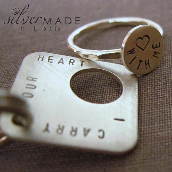 intertwine. SQUARE sterling silver ring and keychain