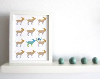 Goat print, Goat Art Print, Animal Print, Goat Pattern, Goat Illustration, This too shall pass, 8x10