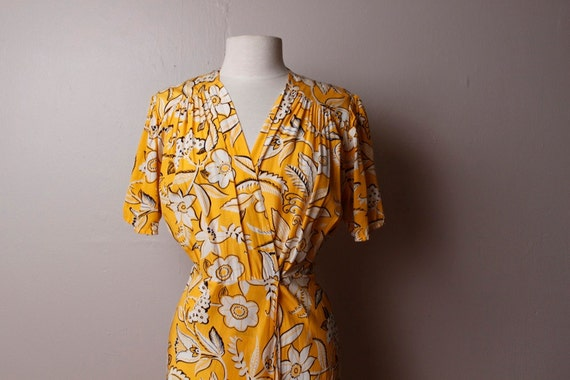 Vintage 1980's 1940's style Norma Kamali Yellow Floral Rayon Dress Medium