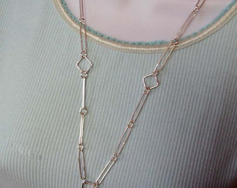 Handmade Sterling Silver Long Link and Square Shaped Links Chain 25 Inches in Length