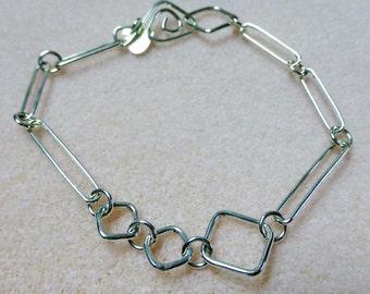 Handmade Sterling Silver Long Link and Square Link Bracelet 8 Inches in Length