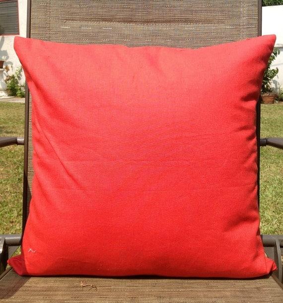 Orange Linen Solid Cushion Cover 18x18 throw pillow