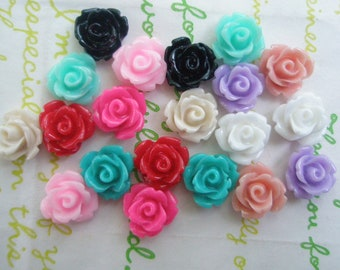 Tiny rose cabochons 20pcs PD 003 10mm MIX