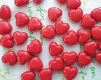 Tiny Puffy Heart BEADS 30pcs PH Red Size XS