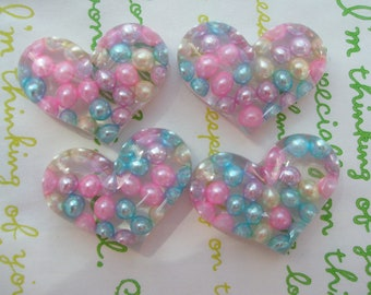 Chunky Pearly Resin Heart cabochons 4pcs