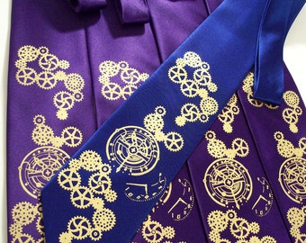 4 Steampunk Clock Gear Neckties, Wedding Set of 4 Mens ties, Custom Color Neckties, Print to Order Clock Works by RokGear