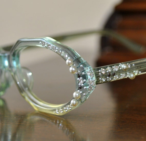 French Retro Octoganal Light Blue Glasses with Pearls and Rhinestones