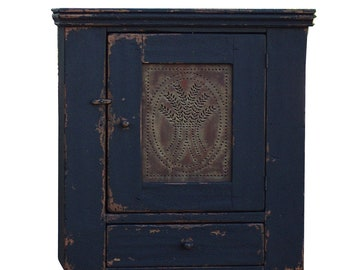 Primitive pie safe painted country reproduction wall cupboard farmhouse furniture distressed  hanging cabinet