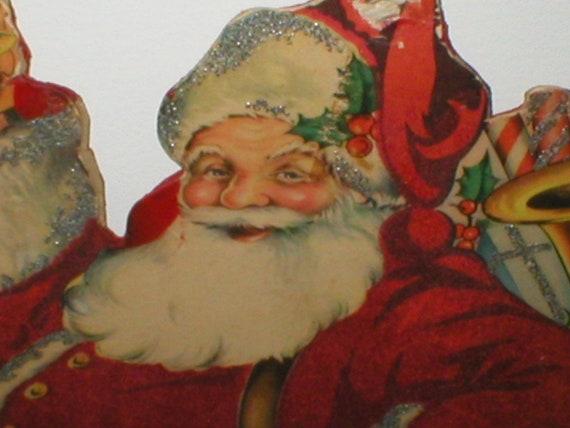Flock Santa Christmas Decoration Display Cardboard 1920s Vintage Antique