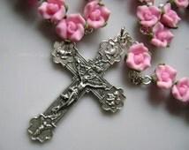 catholic Handmade  Rosary necklace beautiful Pink Soft Cerami BEADS Rose   ROSARY  CROSS Catholic Crucifix Necklace