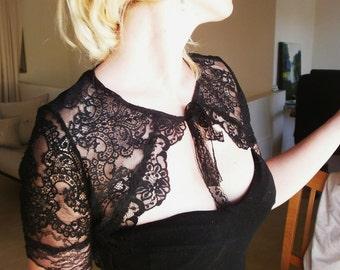 ROYALTY black French lace bolero combined with original Chantlilly lace victorian bolero victorian black lace shrug black lace shrug