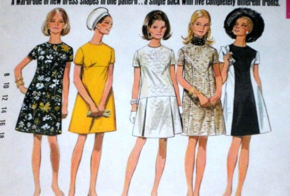 Vintage 60's Butterick 5086 Sewing Pattern One Piece Dress Size 12 Bust 34