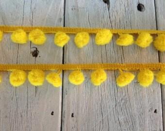 Pom Pom Trim-GOLDEN YELLOW -1/2 inch ball-2 yards