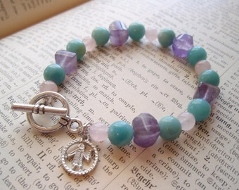 Virgo - Zodiac Charm Amethyst Rose Quartz Amazonite Gemstone Toggle Clasp Bracelet
