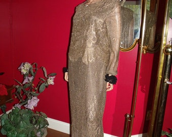 Vintage Dress Flapper Art Deco  Lace Gold Bronze does 20-30s Evening  Size 12
