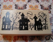 Haunted House Silhouette - Halloween wood mounted Rubber Stamp