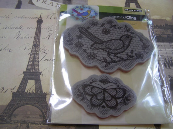 A Flight of Thread Slapstick Penny Black Cling foam-mounted Stamp - 2 pieces