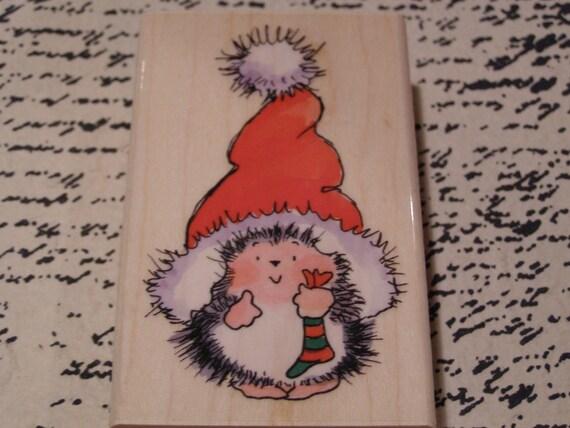 Santa's Hat Penny Black wood mounted Rubber Stamp